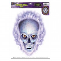 "Halloween Flaming Skull Cling 12"" x 17"" Sh (1/Sh) (1/Pkg)"