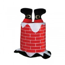 Christmas Plush Santa Chimney Hat (1 Count) (Pkg/1)