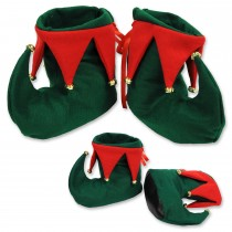 PMU Christmas Red and Green Elf Shoes (1 Count) (Pkg/1)