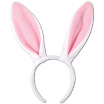 PMU Soft-Touch Bunny Ears (White & Pink) Headband Party Accessory (1 Count) (Pkg/1)