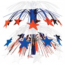 Patriotic Star Cascade Centerpiece Red, White, Blue 18in. (1 Count) (Pkg/1)