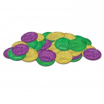Mardi Gras Plastic Coins 1½ Inch Assorted Gold, Green and Purple (100 Count) (Pkg/1)