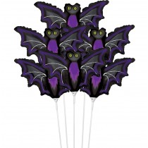"PMU Halloween Balloons ""Night Bat"" 11 Inch Pre-Inflated with Stick (1 Count) (Pkg/1)"