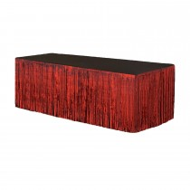 Metallic Fringe Table Skirt 9ft x 29in (Red)
