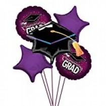 Graduation School Cap Maroon Balloon Bouquet