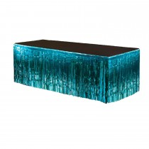 Metallic Fringe Table Skirt 9ft x 29in (Teal)
