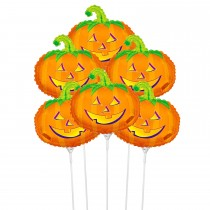 "PMU Halloween Balloons ""Whimsical Pumpkin"" 11 Inch Pre-Inflated with Stick (1 Count) (Pkg/1)"