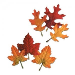"""Autumn Leaves 4.5""""-5.5"""" Assorted Design Decorations Fall, Thanksgivings Party Accessory (12 Count) (Pkg/1)"""