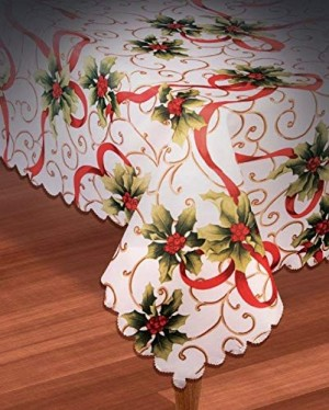 "Christmas Holly Fabric Table Cover 54"" x 108"" (1 Count) (Pkg/1)"